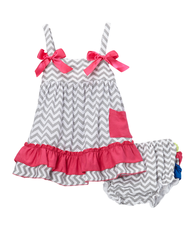 Grey Chevron & Multi Color Ruffles Swing Top & Diaper Cover Set