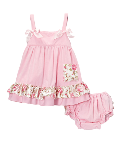 Light Pink & Floral Swing Top & Diaper Cover Set