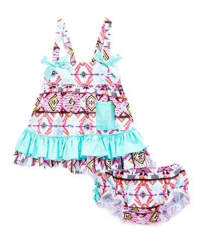 Mint Geometric Swing Top & Diaper Cover Swing Top