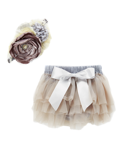 Gray Ruffled Diaper Cover & Headband Set