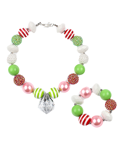 Red and Green Necklace & Bracelet Set