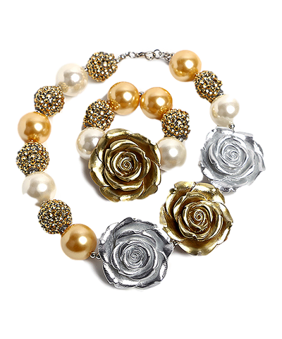 Silver & Gold Rose Necklace & Bracelet Set