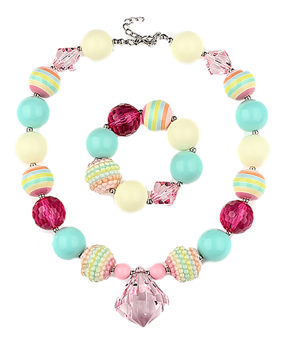 Pink Gem & Striped Necklace & Bracelet Set