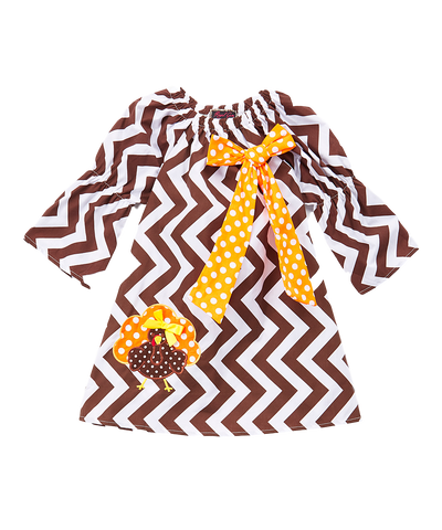 Brown Chevron Turkey Peasant Dress