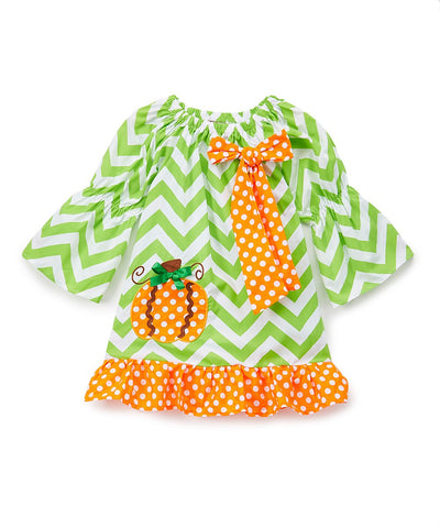 Green Pumpkin Chevron Peasant Shift Dress