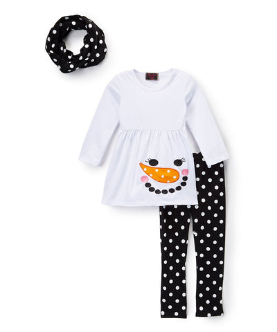 3pc Black & White Snowman Polka Dot Scarf Set