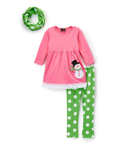 3pc Pink & Green Snowman Polka Dot Scarf Set