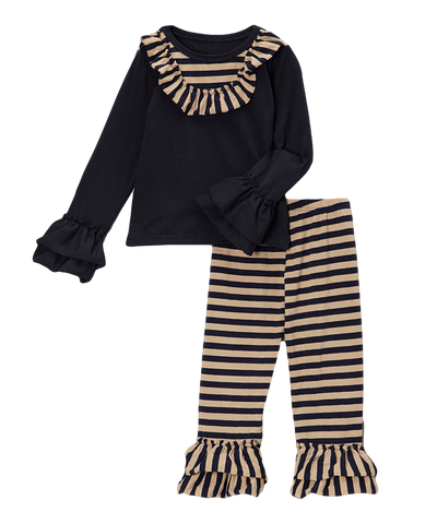 Black & Tank Striped Pant & Top Set