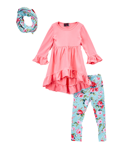 Pink & Blue Floral Scarf, Tunic Top, and Leggings Set