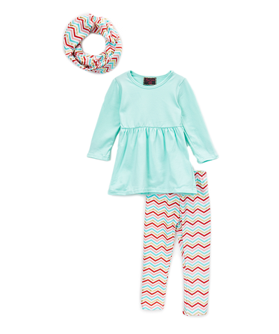 Teal & Chevron Tunic Top and Leggings Set