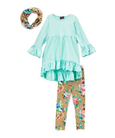 Teal & Tan Floral Scarf, Tunic Top, and Leggings Set