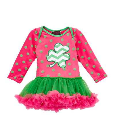 Pink & Green Shamrock Skirted Bodysuit