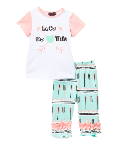Pink & Teal 'Let's Do This' Top & Pants Set