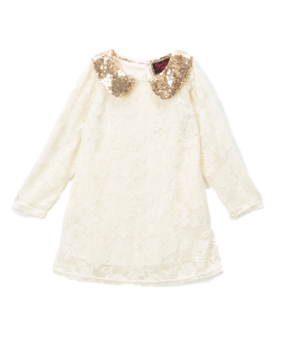 Ivory Lace Glitter Collared Shift Dress