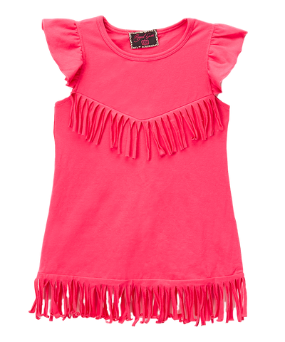 Hot Pink Fringe Shift Dress