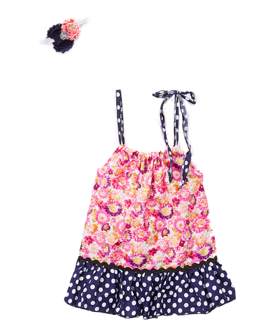 Pink Floral Dot Pillowcase Dress & Headband