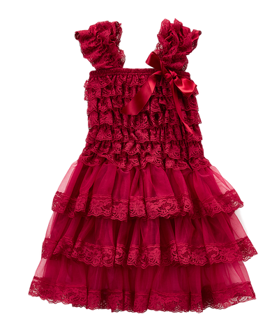 Maroon Lace Capsleeve Tiered Flower Girls Dress