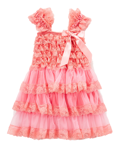 Peach Lace Capsleeve Tiered Flower Girls Dress