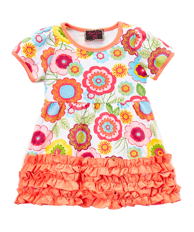 Orange Floral Ruffle-Hem Dress