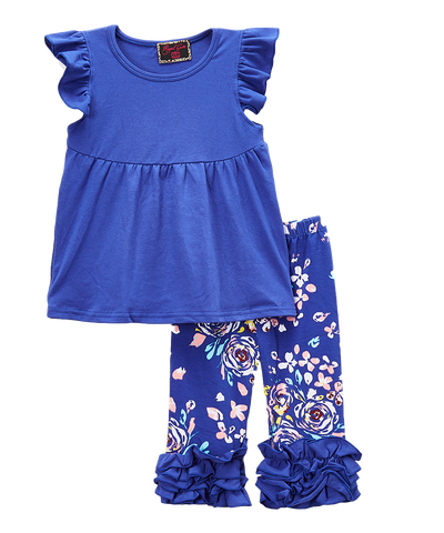 Blue Floral Ruffle Pant & Top Set