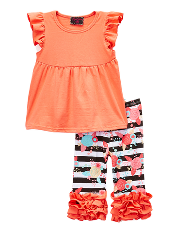 Peach Floral Ruffle Pant & Top Set