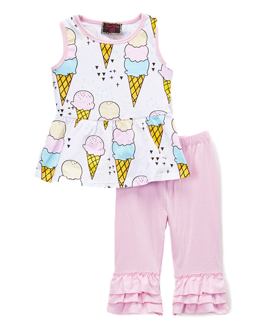 Pink Ice Cream Top & Pants Set