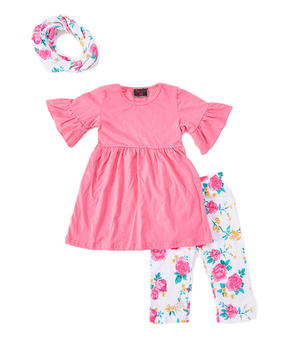 Pink Floral Headband, Pant & Top Set
