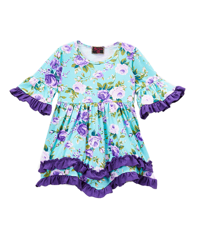 Purple Floral Ruffle-Hem Dress