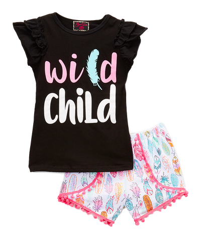 Pink 'Wild Child' Short & Top Set