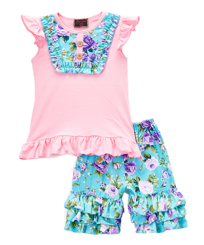 Pink & Purple Floral Top & Capri Pants Set