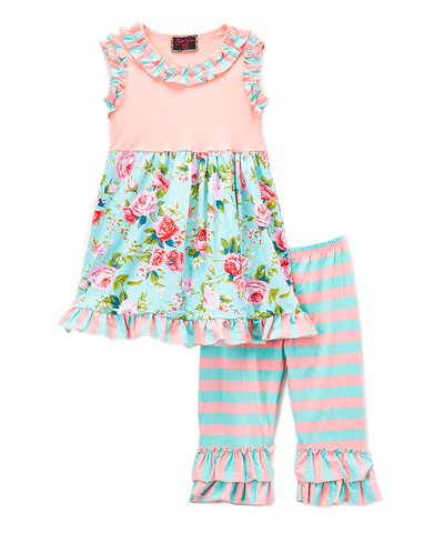 Pink & Mint Floral Top & Stripe Pants Set