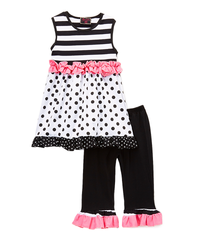 Pink & Black Dot & Stripe Tunic Top & Leggings