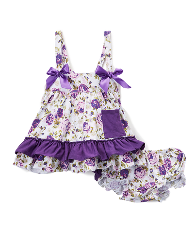 Purple & White Floral Swing Top & Bloomers Swing Top