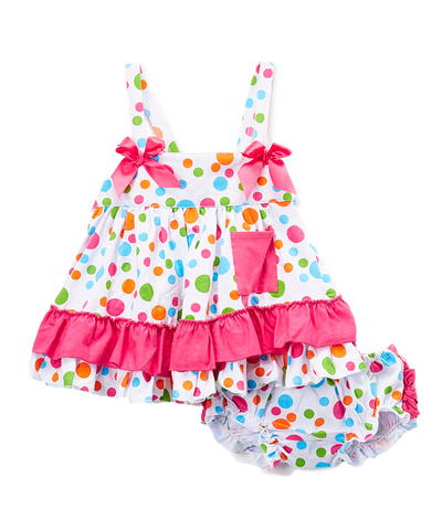 White & Pink Dot Swing Top & Bloomers