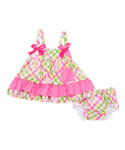 Green & Pink Plaid Swing Top & Diaper Cover Set