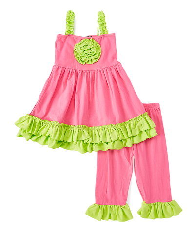 Pink & Lime Rosette Tank Top & Pants Set