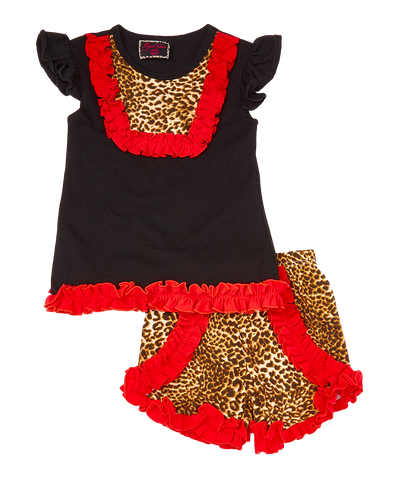 Black & Red Leopard Ruffle Top & Shorts Set