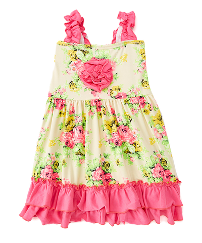 Yellow & Pink Floral Swing Dress