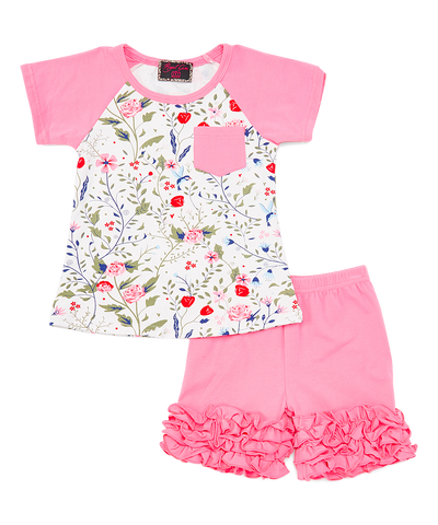 Pink Floral Baseball Top & Ruffle Shorts Set