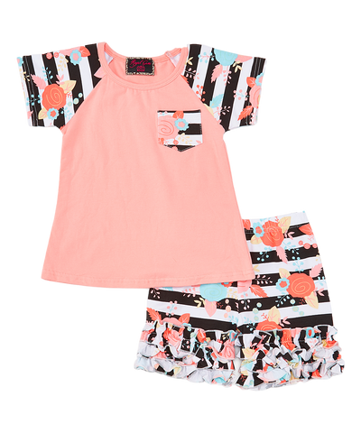 Peach Stripe Baseball Top & Ruffle Shorts Set