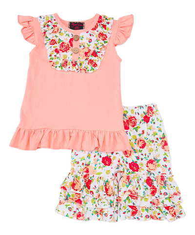 Pink & Peach Floral Top & Ruffle Shorts Set