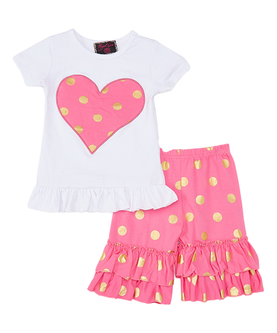 Pink Polka Dot Top & Ruffle Shorts Set