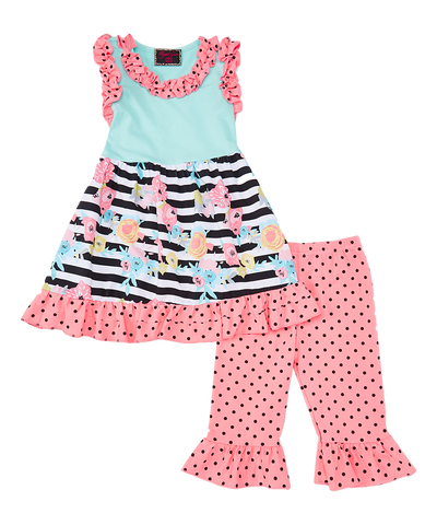 Pink & Green Polka Dot Top & Shorts Set