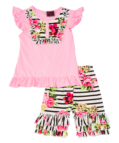 Pink Stripe Floral Top & Ruffle Shorts Set