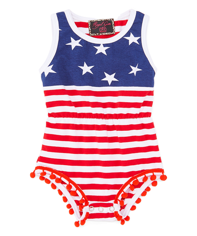 Red & Blue Stars & Stripes Pom-Pom Romper