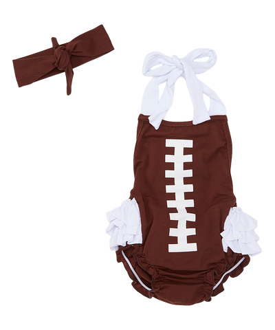 Brown Football Bubble Romper and Headband