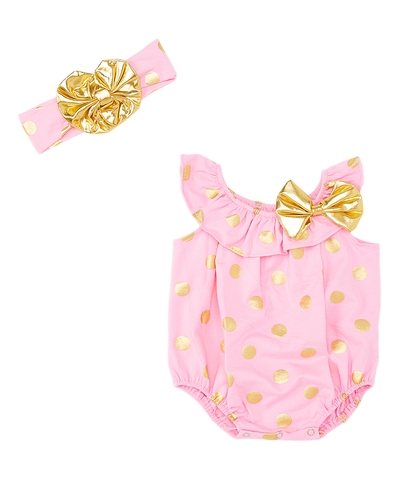 Pink & Gold Polka Dot Bodysuit & Headband