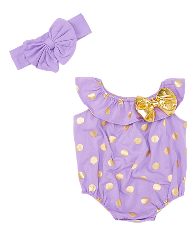 Purple & Gold Polka Dot Bodysuit & Headband