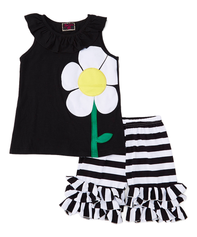 Black Daisy Top & Shorts Set