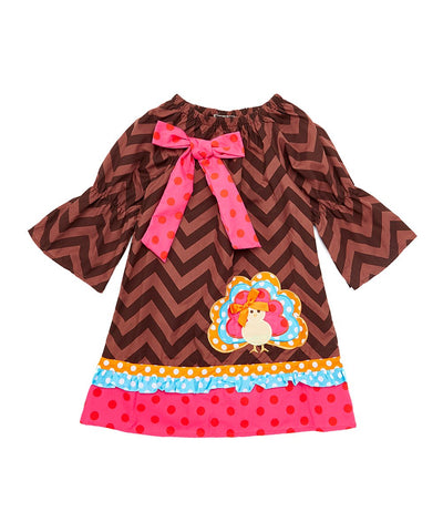 Turkey Brown & Pink Chevron Shift Dress